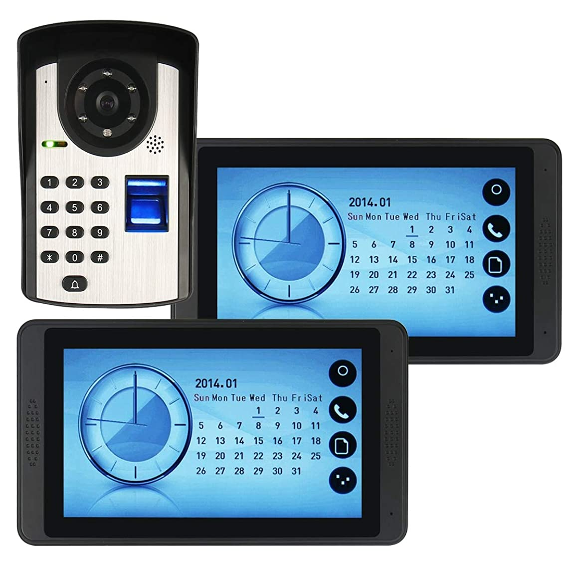 JINPENGPEN 7 inch Touch Screen Video doorbell Telephone intercom System Remote Unlock Night Vision Function Home Monitoring
