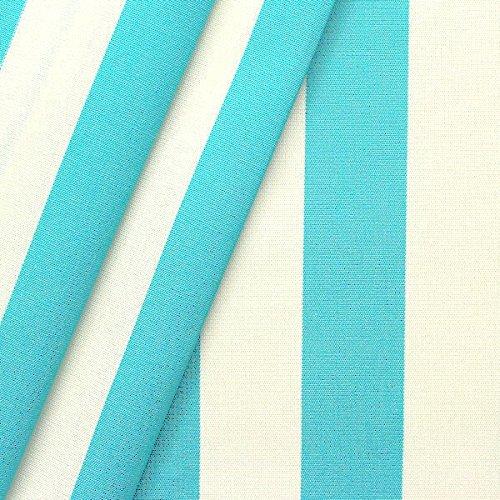 STOFFKONTOR Markisenstoff Outdoorstoff Streifen Breite 160cm Meterware Türkis-Blau Weiss