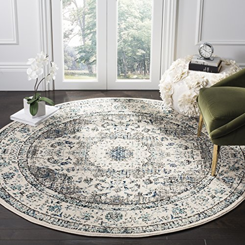 Safavieh Evoke Collection EVK220D Shabby Chic Vintage Oriental Medallion Area Rug, 3' Round, Ivory/Grey