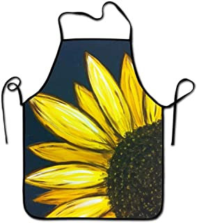 Liubajsdj-Waist Adjustable Professional Apron Kitchen Sunflower Floral Art Woman Aprons Comfortable Perfect For Cooking Guide