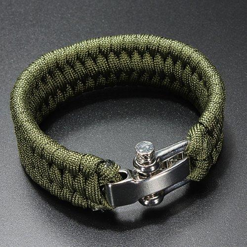 Dcolor 7 Strand Supervivencia Militar pulsera de la cuerda de la armadura de la hebilla - Verde