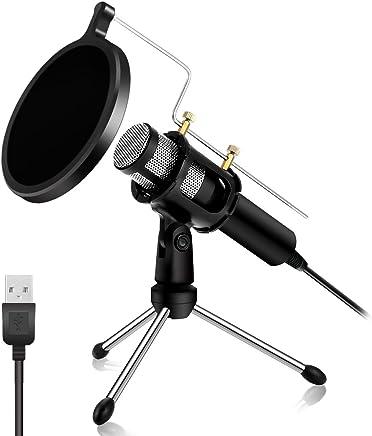 PC Microfono USB, NASUM Microfono Podcast, per Studio, Registrazione, Skype, YouTube, con Supporto e Schermo Pop (Windows/Mac) - Confronta prezzi