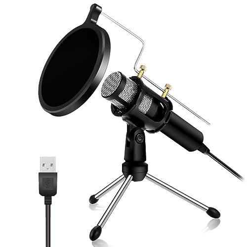 NASUM Microphone à Condensateur Professionnel Prise USB - Plug & Play Microphones Home Studio, Filtre Acoustique Double Couche, pour Youtube, Facebook, Podcasting, Jeux