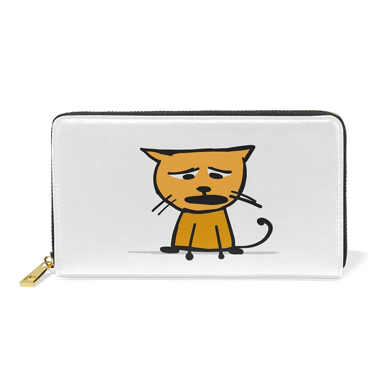 音楽を聴く物理的にUKIO(ユキオ) 財布 レディース 二つ折り 長財布 本革 人気 収納 ニャンコ 落ち込んでる猫 大容量 多機能 高級 人気 おしゃれ