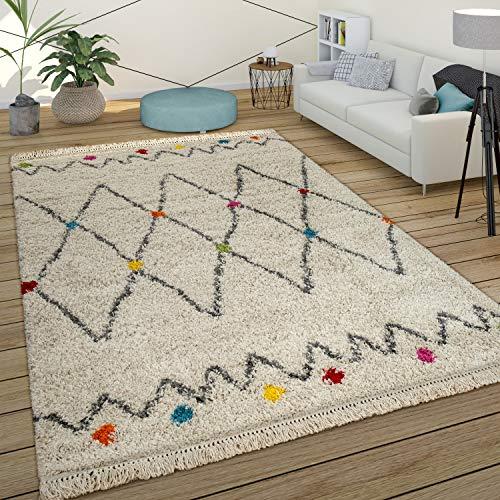 Paco Home Teppich Bunt Beige Shaggy Flauschig Ethno Design Hochflor Punkte Rauten Muster, Grösse:120x170 cm