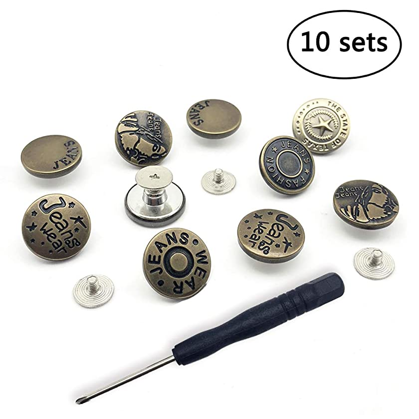 SOOSHOW 5 Styles 10 Sets Perfect Fit Instant Button Nailless Removable Metal Button Replacement No Sewing - Easy to Disassemble and Reusable, Adds an Inch to Any Pants Waist in Seconds! [Upgrad]
