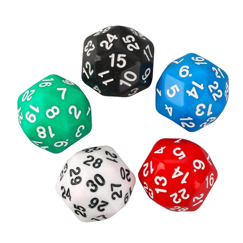 SIUSUQI ダイス サイコロ RPGボードゲーム用 アクリル ボードゲーム D30 多面 ダイス サイコロ 数字柄 30面ダイス 5色合計