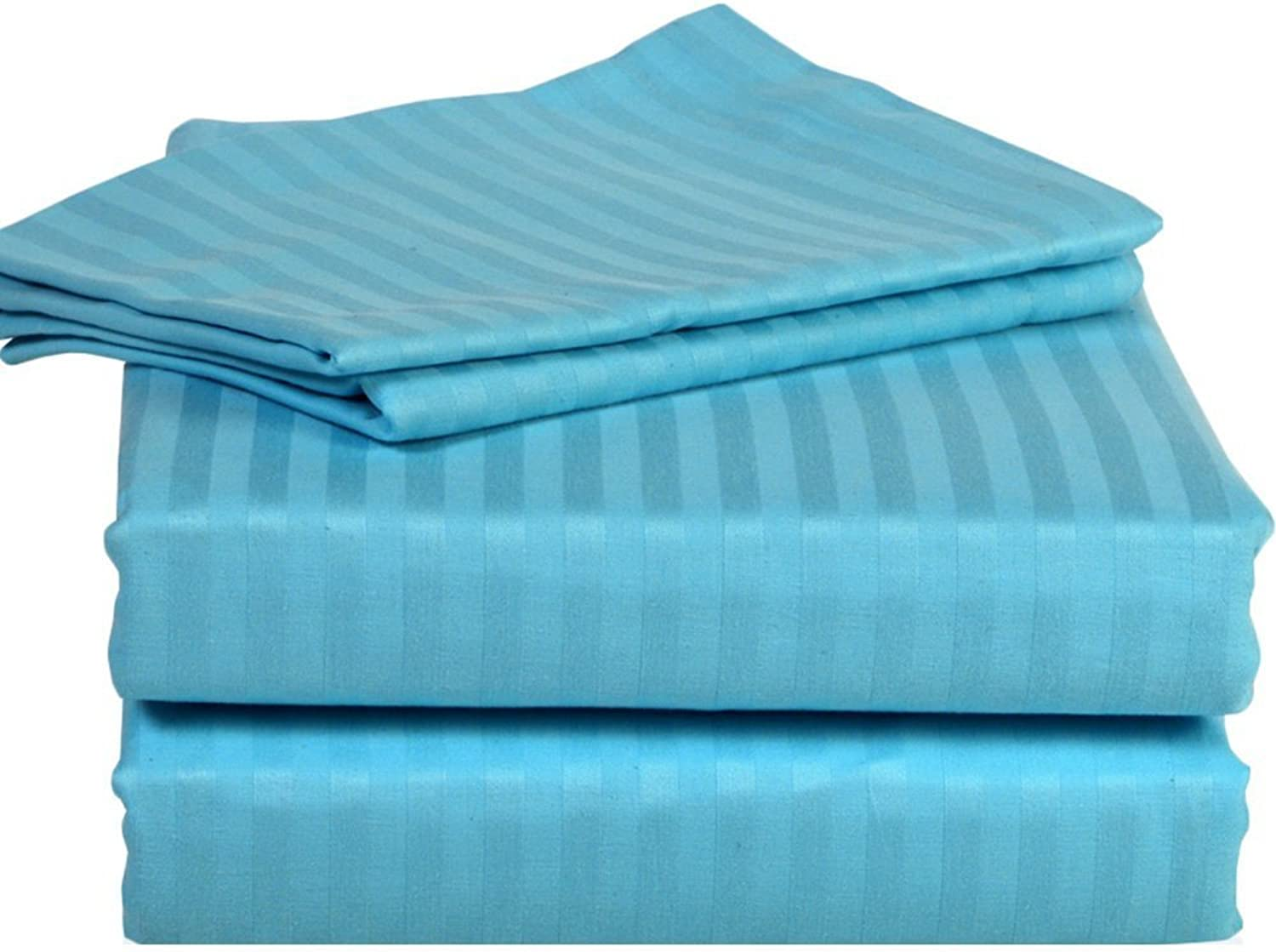 800 Thread Count 6 PieceSheet Set upto 22 inches Deep Pocket 100% Egyptian Cotton Striped Pattern All Sizes & colors ( Olympic Queen , turquoise )