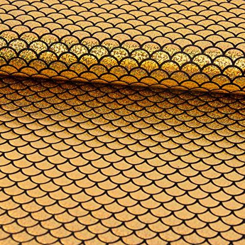 SCHÖNER LEBEN. Faschingsstoff Stretch Elastic Folienjersey Glitzer Schuppen 1,8cm Gold schwarz 1,42m