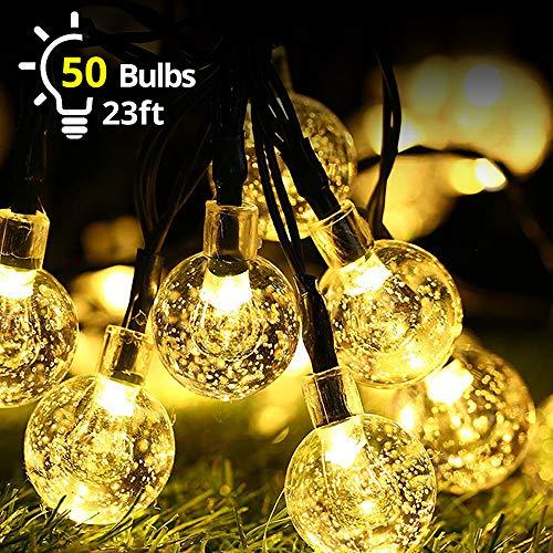 Solar Lichterkette Aussen, Lichterkette Außen Kristall Kugeln Beleuchtung 7M 50er 8 Modi IP65 Wasserdicht für Garten,Terrasse, Bäume, Hof, Haus Party Deko
