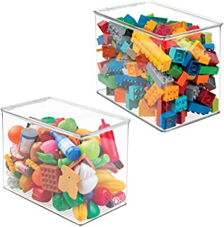 mDesign bac à jouet – haut – rangement jouet avec couvercle (lot de 2) – boite rangement plastique superposable – rangemen...