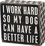 Primitives by Kathy 21490 Pawprint Trimmed Box Sign, 5' Square, Dog Can Have a Better Life