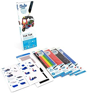 3Doodler Create 4 Pack Plastic Bundle with Tuk-Tuk Stencil, (3D Pen not included)