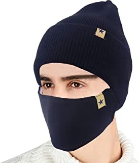 2-Pieces Winter Beanie Hat Face Mask Set Winter Knit Skull Cap Hat Adjustable Face Mask Beanie for Men Women