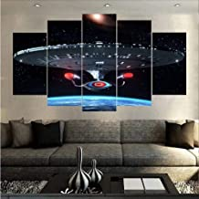HUDEHUA Large Spaceship Wall Art Spaceship Canvas Art Space Painting Planets Canvas Art Multi Panels Mural No frame