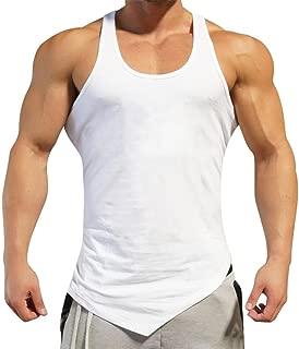 GREFER Men's Solid Tank Gyms Bodybuilding Fitness Muscle Sleeveless Singlet Undershirt Top Vest