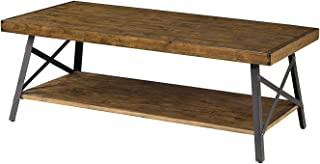еmеrаld Hоmе Furnishings Home Decor Emerald Home Chandler Rustic Industrial Solid Wood and Steel Coffee Table with Open Shelf