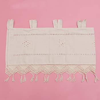 IMIKEYA cortina de niveles de cocina cortina corta de lino de algodón cortina de cocina bordada cortina de panel corto ahuecado cortina de ventana corta de media cortina sombreada beige: Amazon.es: Bricolaje