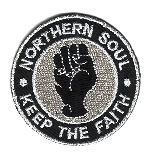 Sew-on Patch thermocollant brodé Northern Soul Fist Scooter Ska Badge &- Noir (Argent)