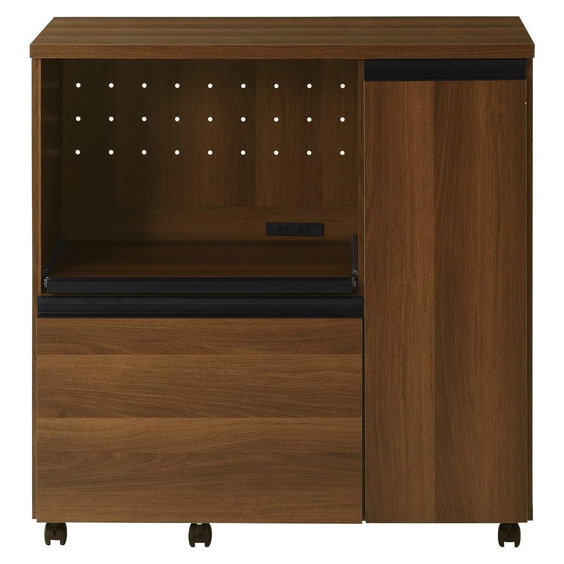 たまにモルヒネ不機嫌ぼん家具 キッチンカウンター 収納 キャスター付 約90cm幅 レンジ台 木目 木製 ウォールナット