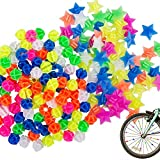 YuCool 180 Pcs Assorted Colors Bike Wheel Spoke Decorations, Bicycle Plastic Clip Round Beads and Star Wheel Spokes Accessories