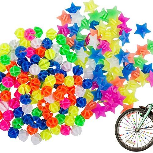 YuCool 180 Stück sortierte Farben Fahrradspeichen-Dekorationen, Fahrrad Kunststoff Clip Runde Perlen und Stern Rad Speichen Zubehör