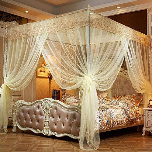 Three-door door bracket, thickened landing net, 1.5m / 1.8m bed, beige 1.8m bed, 25mm thickened column-Court-Beige_1.8m bed