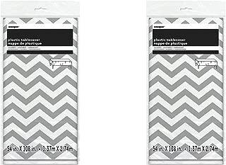 Set of 2 Unique Industries Plastic Silver Chevron Table Cover, 108
