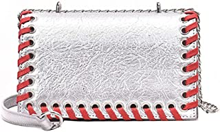 Fashion Women's Bags PU(Polyurethane) Crossbody Bag Buttons Solid Color Black/Silver/Red (Color : Silver)