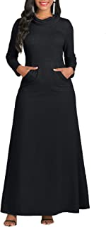 Women's Long Sleeve Cowl Neck Plain Loose Casual Long Dress Maxi Dresses with Pocket