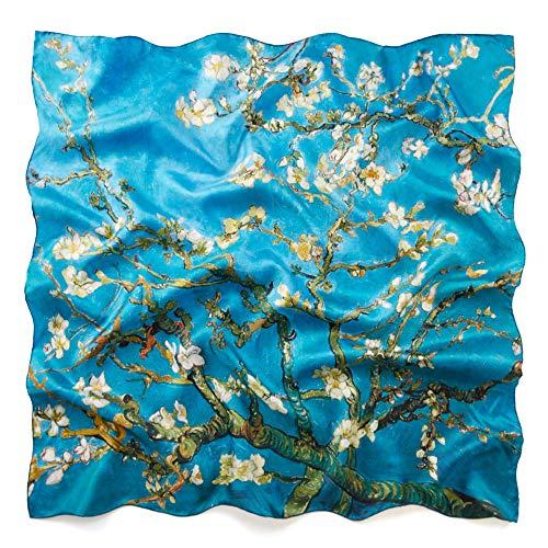 prettystern 90cm étole -carré foulard en soie pour femmes en sergé de soie coloré avec impression d'art 90cm branche d'amande van Gogh en fleur P564