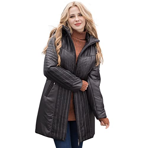2da78291232a MSVASSA Women s Winter Parka Coat Padded Puffer Jacket Coat Plus Size with  Faux Fur Hooded 10