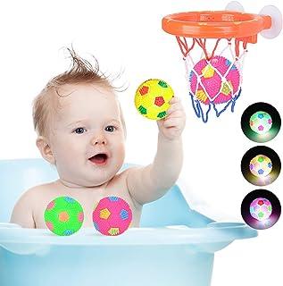 MMTX Juguetes de Baño para Bebés con 3 Pelotas LED Flotante de Agua para Bañera Hoop Luz Parpadeo Jueguete Regalo para Niñ...