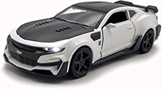 LMOY Pull Back Diecast Vehicles Toys ,Fast & Furious Chevrolet Camaro 1/32 Scale Car Collection Model with Light and Sound for 3 4 5 6 Years Old Boys and Girls (White)