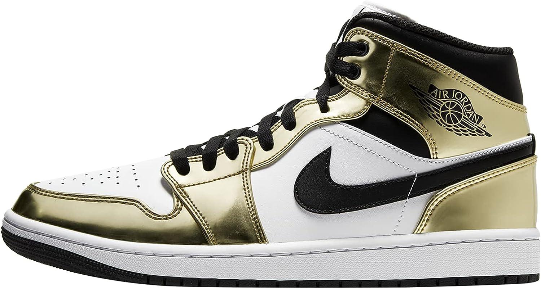 Nike Jordan 1 Mid Metallic Gold White Men's