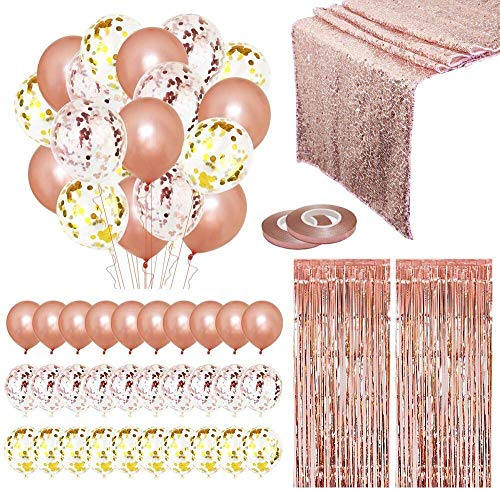Juego de decoración para fiestas XNX de 25 piezas, camino de mesa con lentejuelas de oro rosa, globos con cintas...