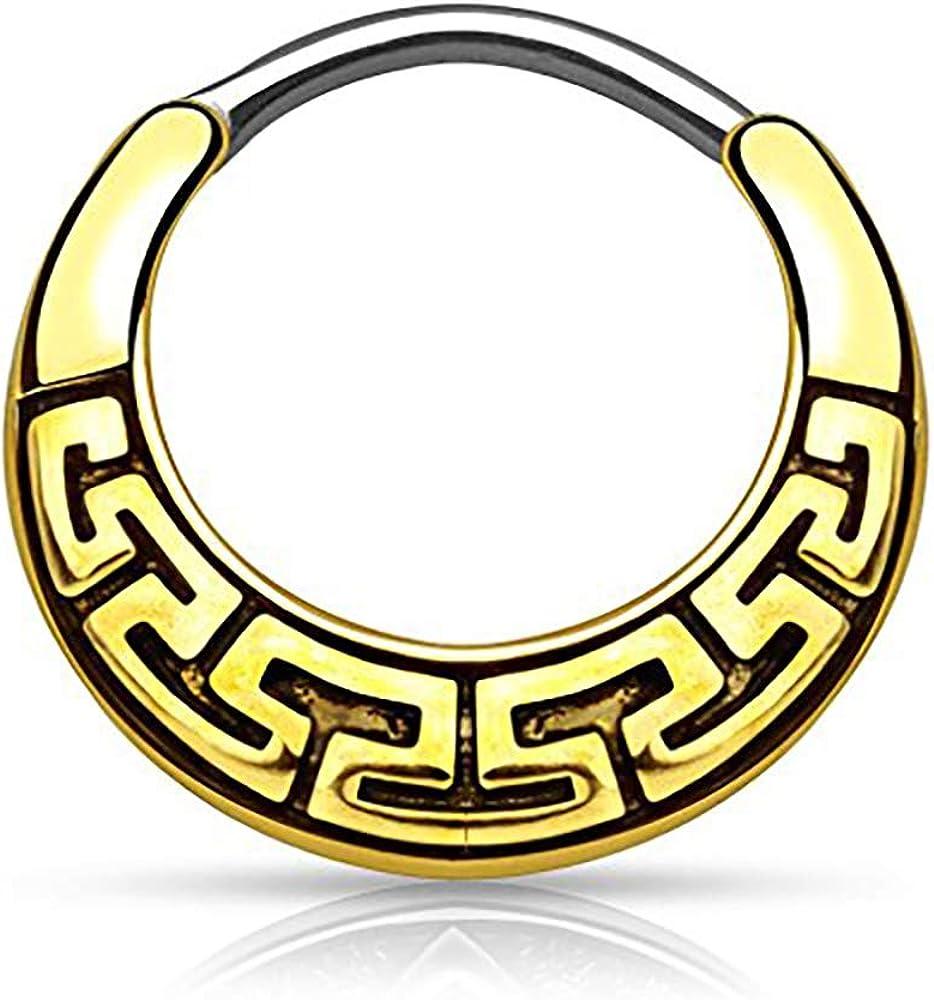Forbidden Body Jewelry 16g 8mm Antique Finish Surgical Steel Tribal Design Cartilage & Septum Hoop