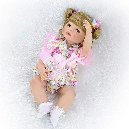 Handgemachte BabyPuppe mädchen Realistische Babypuppe Ganz  Lebensechte Weiße Silikon Baby Puppe 21 Zoll 5cm