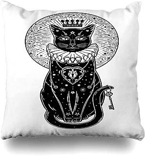 Soopat Decorative Throw Pillow Cover Square Cushion 18 x 18 Inch Black Cat Silhouette Portrait Secret Key Moon Halloween Tattoo Art Boho Home Decor Pillowcase