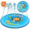 "Inflatable Splash Pad Sprinkler for Kids Toddlers, Kiddie Baby Pool, Outdoor Games Water Mat Toys - Baby Infant Wadin Swimming Pool - Fun Backyard Fountain Play Mat for 1 -12 Year Old Girls Boys (68"")"