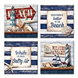 DekHome Nautical Wall Decor Lighthouse Sailboat Prints on Wooden Background Artwork Motivational Quote Canvas Wall Art for Shower Room Kitchen Decoration Stretched Framed Ready to Hang 12'x12'x4pcs