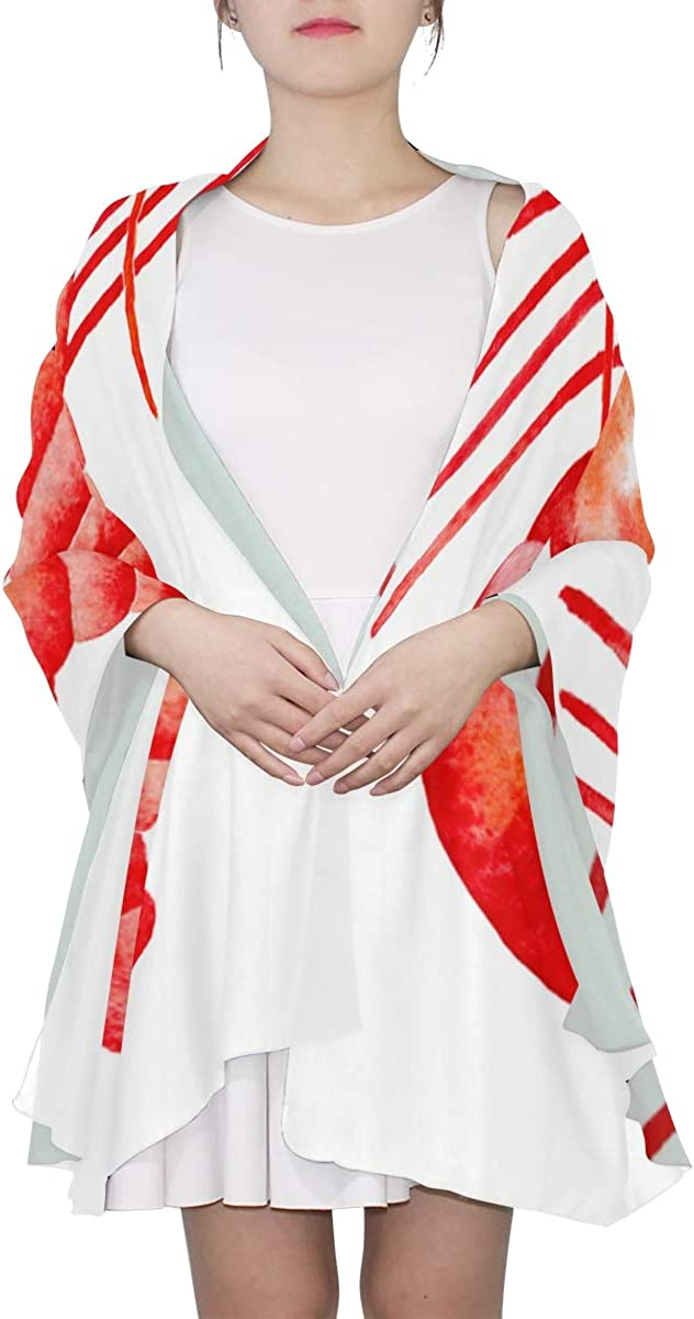 Lobster Shaped As A Heart Symbol Unique Fashion Scarf For Women Lightweight Fashion Fall Winter Print Scarves Shawl Wraps Gifts For Early Spring