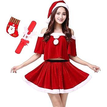 Veamor レディース 超かわいい ワンピース セクシー サンタ ミニワンピ 衣装 クリスマス コスプレ トップス スカート 帽子 3点 セット 靴下おまけ