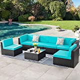 SUNLEI 7pcs Patio Outdoor Furniture Sets Conversation Set,Low Back All-Weather Rattan Sectional Sofa with Tea Table&Washable Couch Cushions&Ottoman(Black Rattan)(Blue)