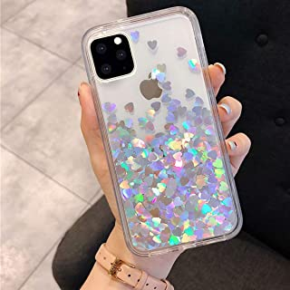 Topwin iPhone 11 6.1'' 2019 Bling Casa, Glitter Liquid Bling Floating Bling Sparkle Luxury Pretty Girls Crystal Clear Case for Apple iPhone 11 6.1'' 2019 (Silver)