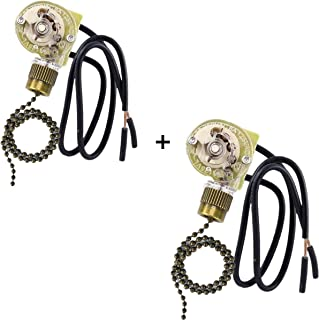 Ceiling Fan Switch Zing Ear Pull Chain Switch ZE-109 Pull Chain Switch Control Ceiling Fan Replacement Speed Control Switch (2 Pack Bronze)