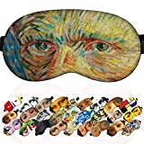 Sleep Mask Masterpieces for Men - 100% Soft Cotton - Comfortable Eye Sleeping Mask Night Cover Blindfoldfor Travel Airplane (Van Gogh, Plastic Pack)