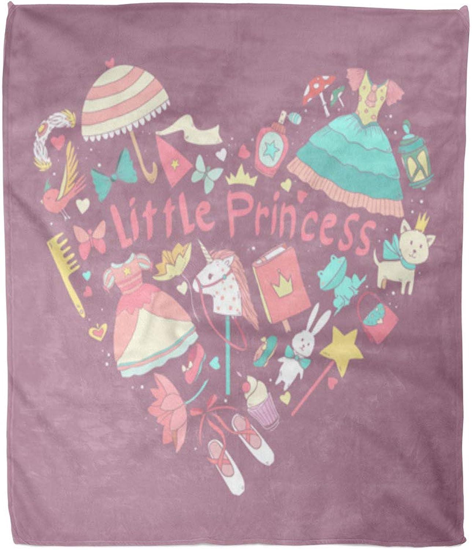 Emvency Throw Blanket Warm Cozy Print Print Print Flannel Pink Pony