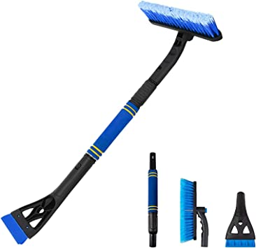 Snow Brush for Car, Ice Scraper for Car Windshield Extendable Snow Brush Remover with Foam Grip for Car Auto SUV Truck Windows (Blue): image