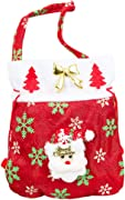 iTemer 1 Christmas Tote Gift Bags with Featuring Santa Claus and Snowman for Xmas Present and Candy Bags